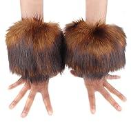 Ecosco Faux RED Fox Fur Hair Soft Wrist Band Ring Cuff Cozy Fuzzy Warmer ¡