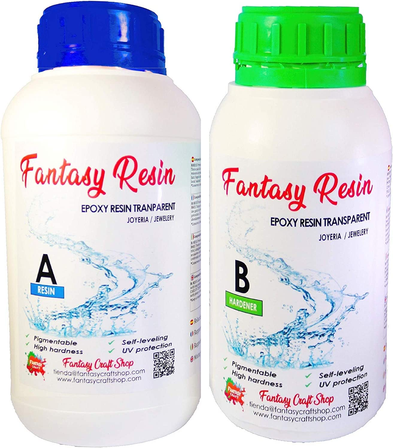Fantasy Craft 0,3 Kg Fantasy, Resina epoxi Transparente Brillo Perfecto bicomponente de Colada(Varios Pesos Disponibles)