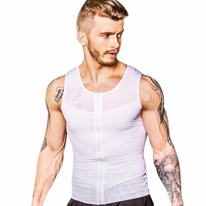 FEESHOW Hombre Camiseta de Tirantes Faja Abdominal Entallada Reductora Moldeadora Quemagrasas Adelgazante