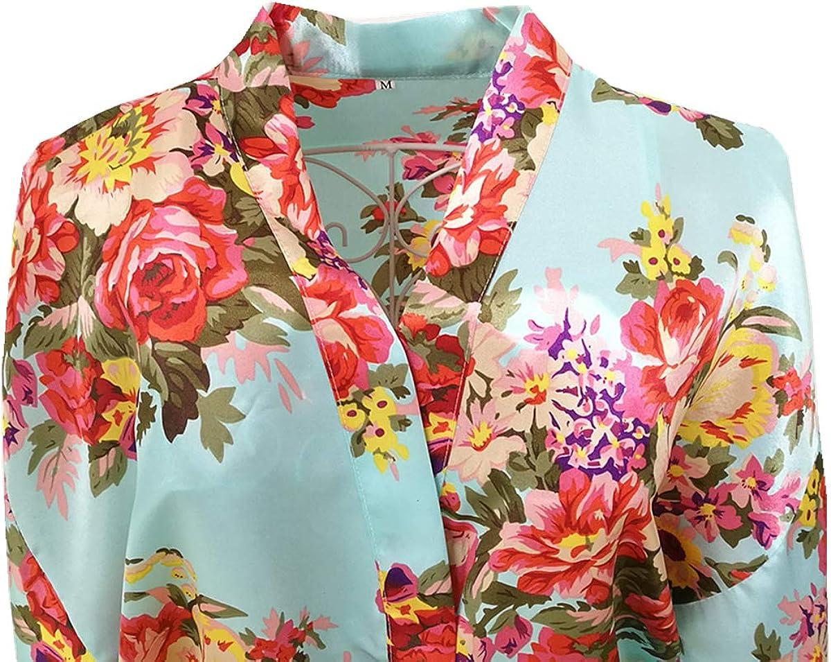 Borje Peignoir Court en Satin pour Femme Motif Floral