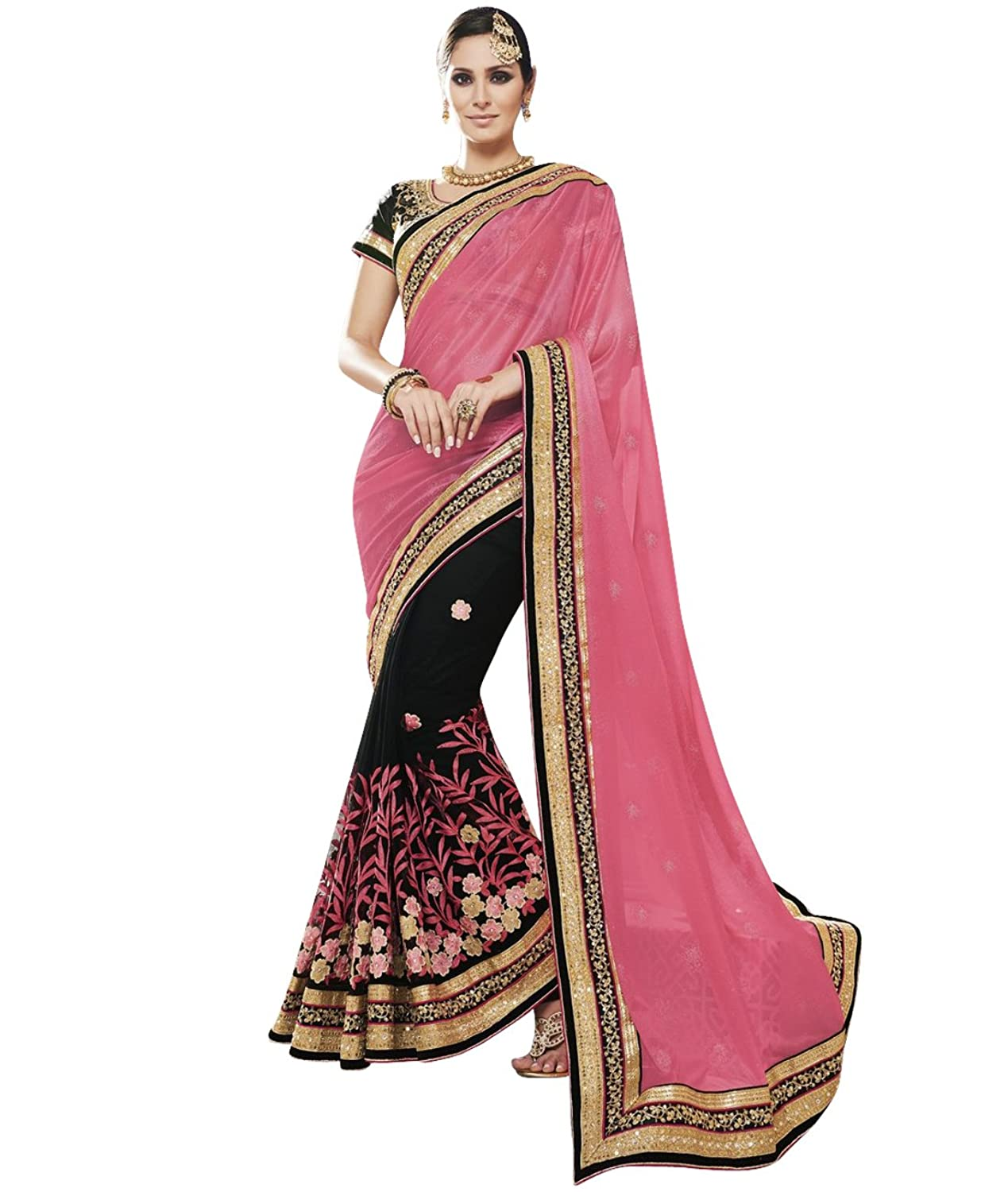 Indian Ethnic Faux Shimmer Georgette And Net Pink and Black Bridal and Wedding Saree