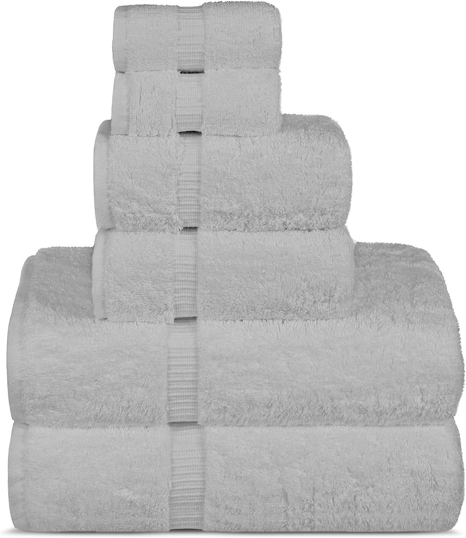 Luxury Spa and Hotel Quality Premium Turkish Cotton 6-Piece Towel Set (2 x Bath Towels, 2 x Hand Towels, 2 x Washcloths, White)