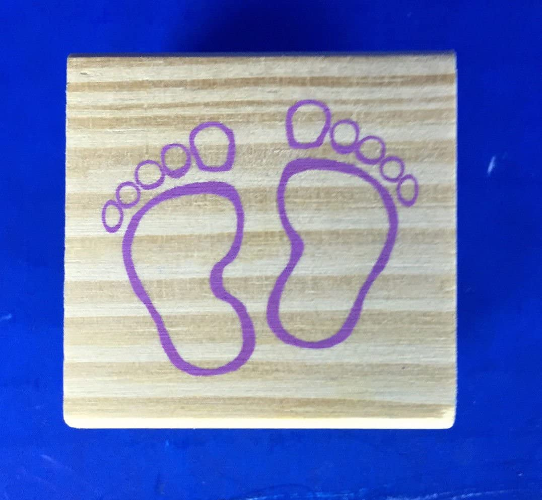 Miniature Wood Mounted Rubber Stamp New Baby Feet 1.5`` x 1.5`` supply:jbm/_solutions 849609