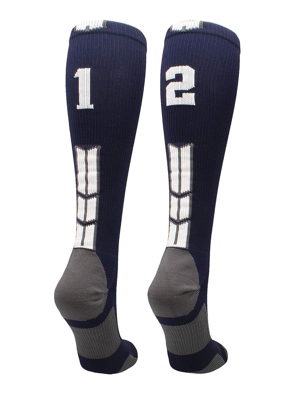 MadSportsStuff Navy/White Player Id Custom Over The Calf Number Socks...