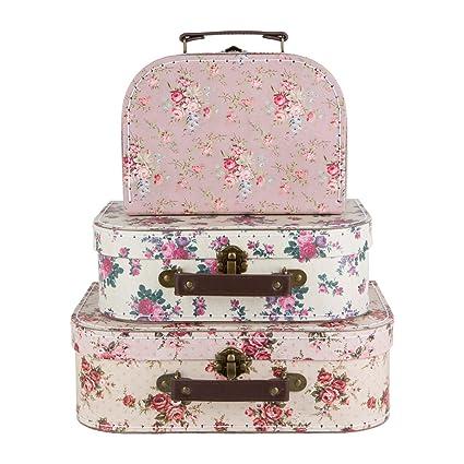 b9d2bc01c Sass & Belle Juego 3 Cajas de Almacenamiento, diseño Floral con Forma de  Maletas Estilo