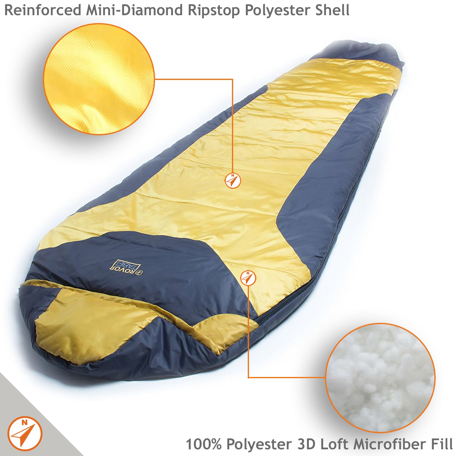 ROVOR Tabei 52 Degree Mummy Backpacking Sleeping Bag with Included Stuff Sack The Tabei Sleeping Bags for Adults Have a 52 Degree Comfort Rating