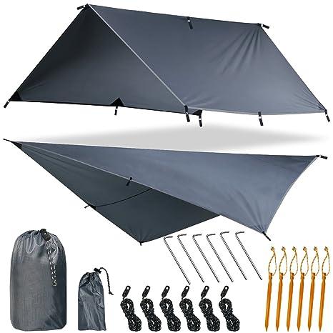 "3de2a6fe0 Yztree Rain Fly Tent Hammock Tarp Waterproof 170"" Centerline Large  Silnylon Lightweight Backpacking Camping Shelter"