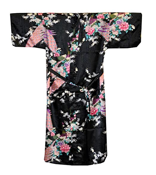 Exotic Peacock Floral Robe, Traditional Chinese Kimono Robe (Black)