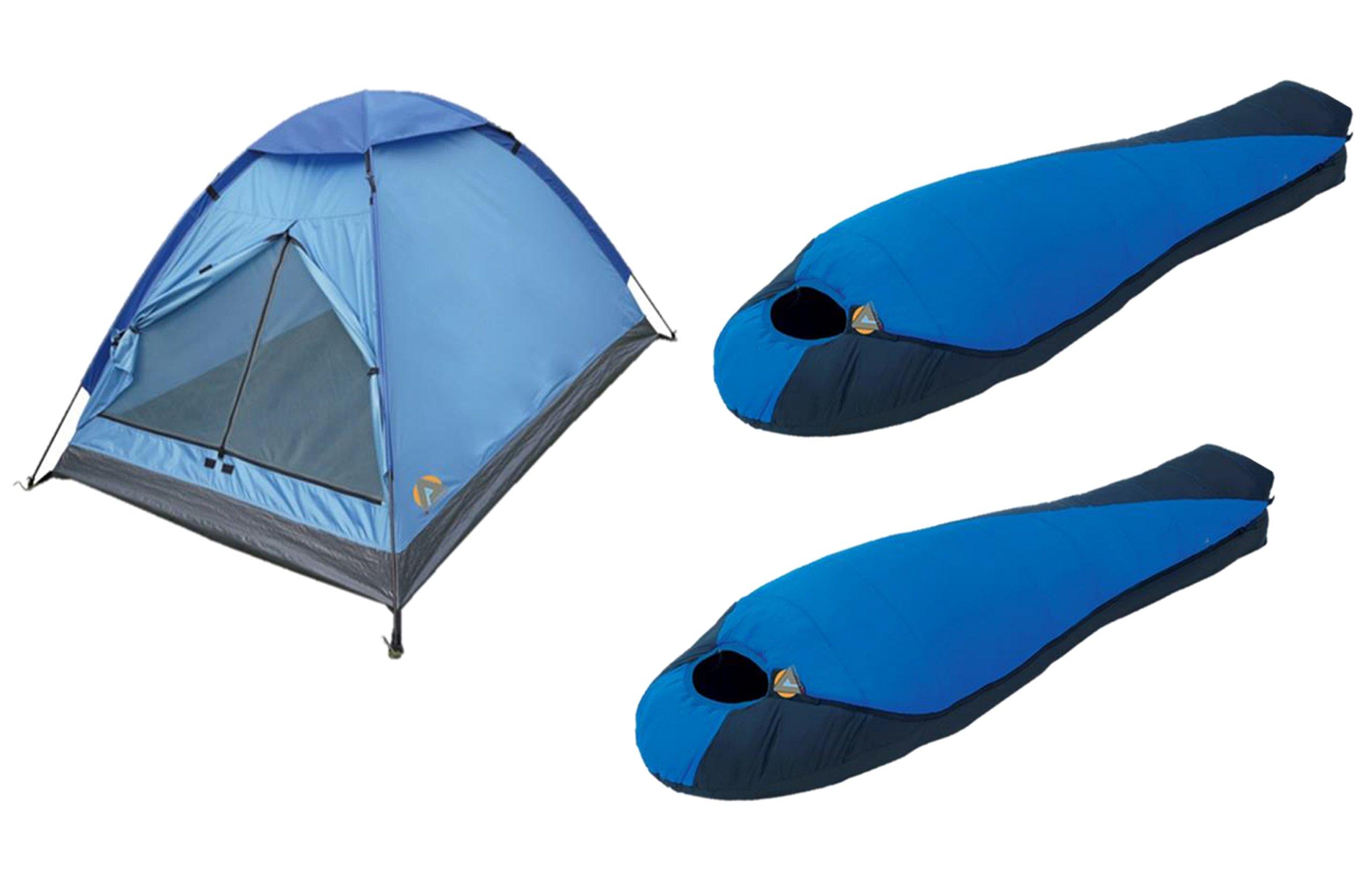 High Peak USA Alpinizmo Two Extreme Pak 0F Sleeping Bags Monodome 3 Tent Combo Set, Blue, One Size by Alpinizmo