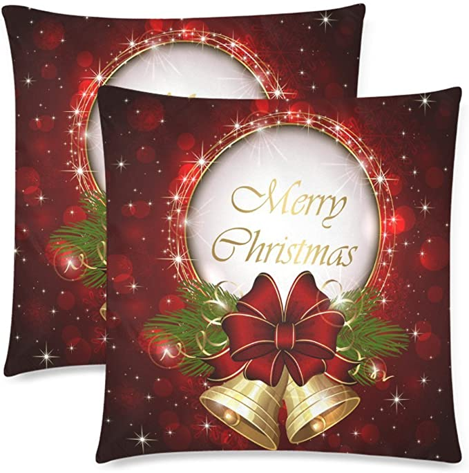 Lepilo Custom 2 Pack Merry Christmas Snowflake Throw Cushion Pillow Case Covers 18x18 Twin Sides, Christmas Bell Bow ...