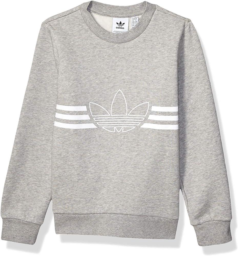 Amazon Com Adidas Originals Kids Big Juniors Outline Crewneck Sweatshirt Medium Grey Heather White X Small Clothing [ 1000 x 928 Pixel ]
