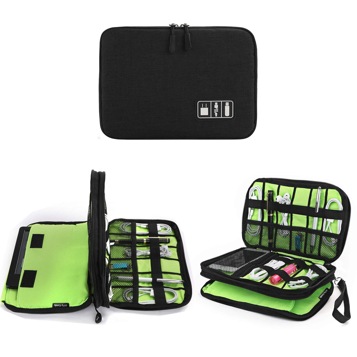 Electronics Organizer, Jelly Comb Electronic Accessories Cable Organizer Bag Waterproof Travel Cable Storage Bag for Charging Cable, Cellphone, Mini Tablet and More (Black and Green)