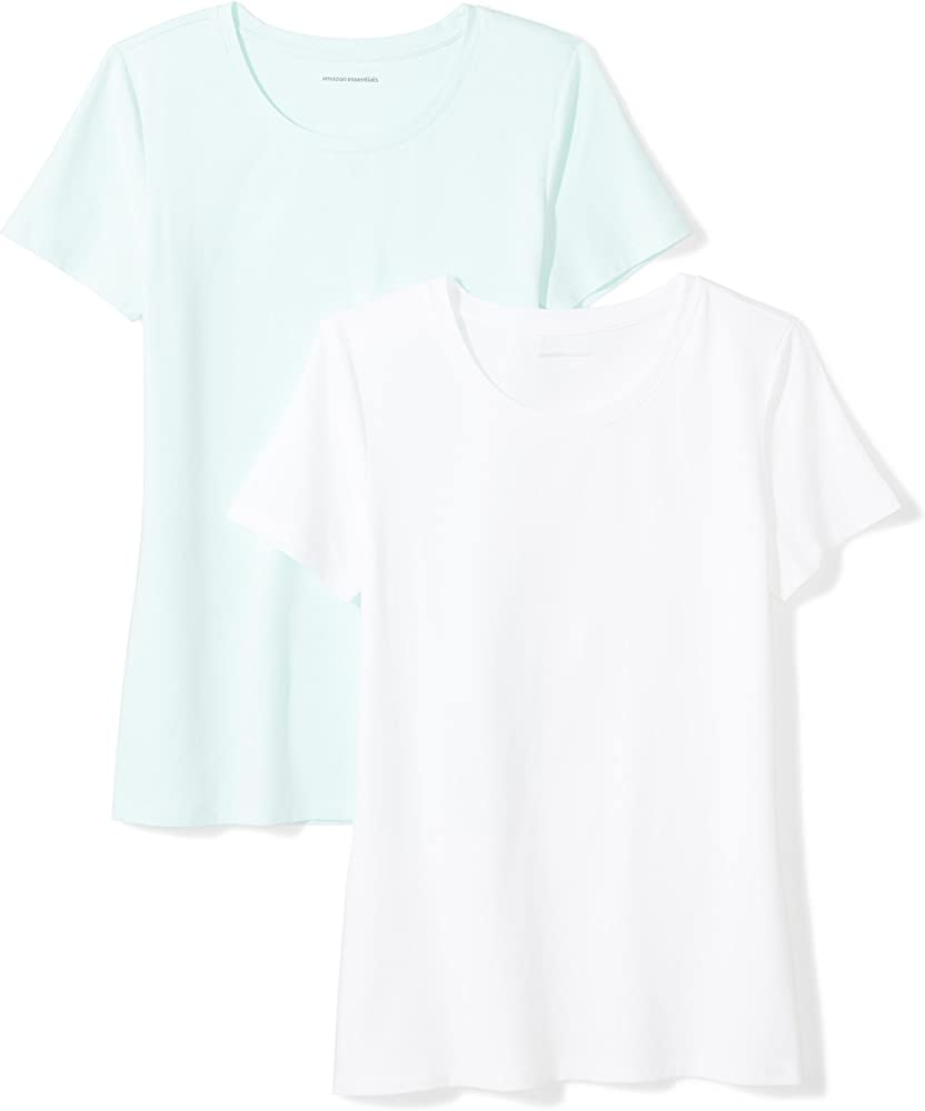 Amazon Essentials 2-Pack Short-Sleeve Crewneck Solid T-Shirt Camiseta, Azul (Aqua/White), X-Small (Talla del fabricante:):): Amazon.es: Ropa y accesorios