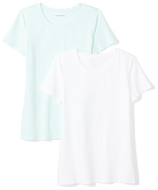 e0f2ca8fb14e39 Amazon Essentials Women's 2-Pack Classic-Fit Short-Sleeve Crewneck T-Shirt