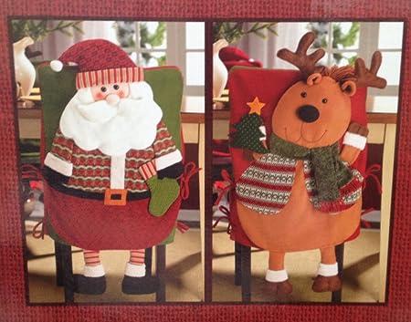 Christmas Chair Back Covers.Set Of 2 Christmas Chair Back Covers Santa Reindeer