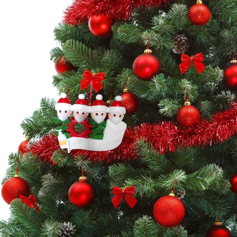 Family of 2 Personalized Name Christmas Ornament kit 2020 Quarantine Survivor Family Customized Christmas Decorating Kit Creative Gift for Family