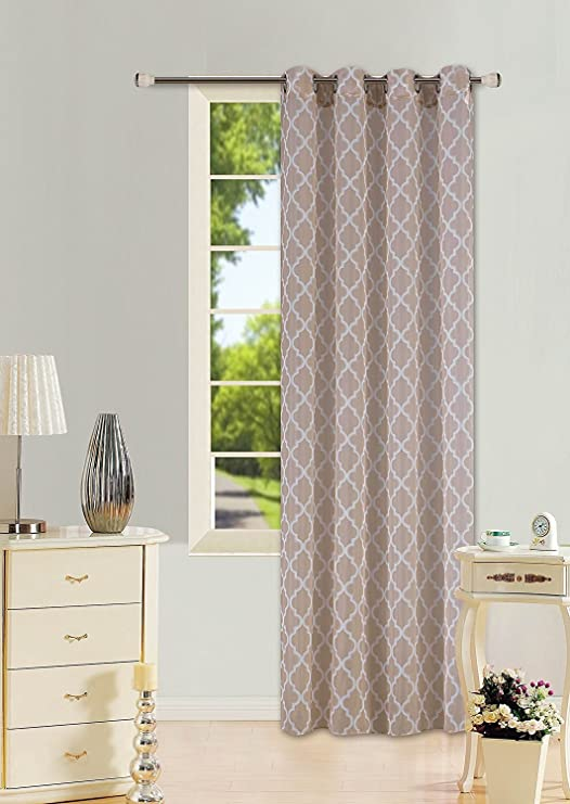 TAUPE 1 PANEL GROMMET PRINTED VOILE SHEER WINDOW CURTAIN TREATMENT IVORY