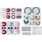 LET'S RESIN Resin Molds for Jewelry, 243pcs Earring Making Kit with 3pcs Resin Earring Molds, 40pcs Earring Hooks, 100pcs Jum
