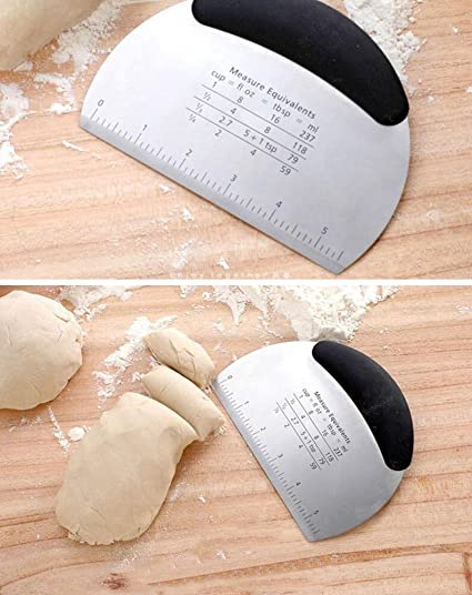 Stainless Steel Pastry Dough Pizza Flour Cutter Scraper Tool Scale Bread
