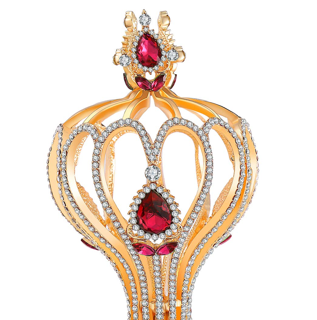 Red Queen Red Crystal Rhinestone Gold Scepter Costume Prop - DeluxeAdultCostumes.com