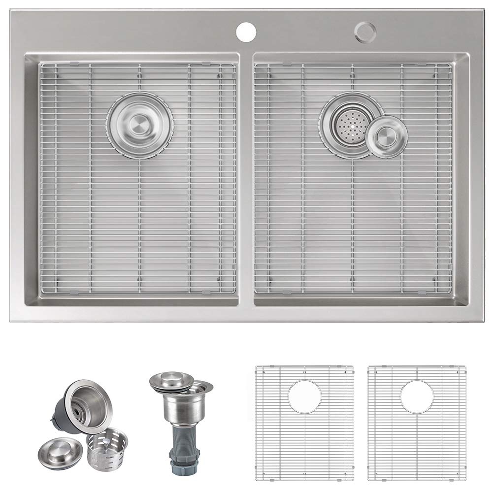 MOWA HTD33DE Upgraded Perfect Drainage Handmade 33'' 16 Gauge Stainless Steel Topmount 50/50 Double Bowl Kitchen Sink, Modern Tight-Radius Style, Commercial Deep Basin, w/Sink Bottom Grids & Strainers by MOWA (Image #1)