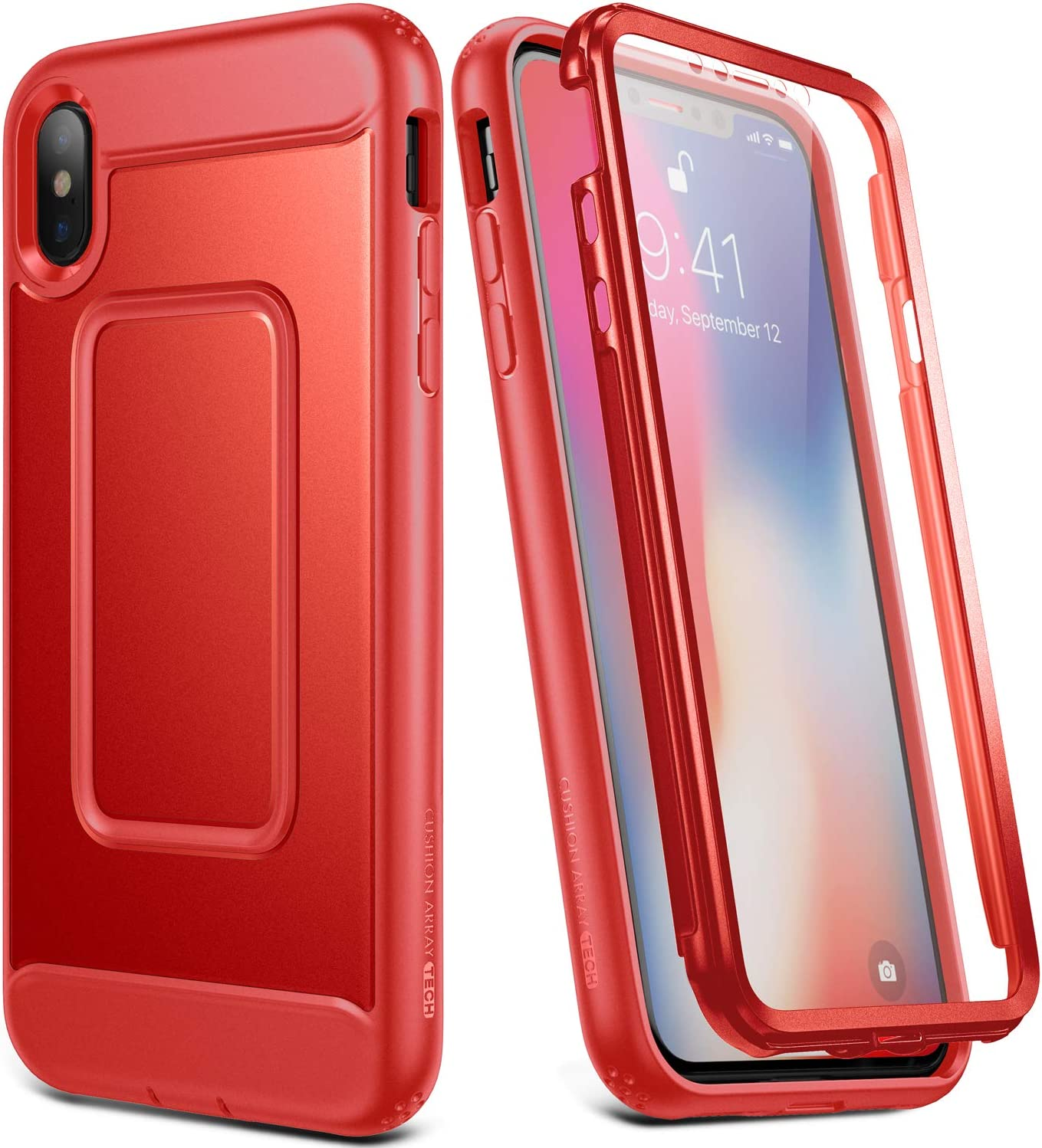 YOUMAKER Case for iPhone Xs & iPhone X, Full Body with Built-in Screen Protector Heavy Duty Protection Shockproof Slim Fit Cover for New Apple iPhone Xs (2018) & iPhone X (2017) 5.8 inch - Red