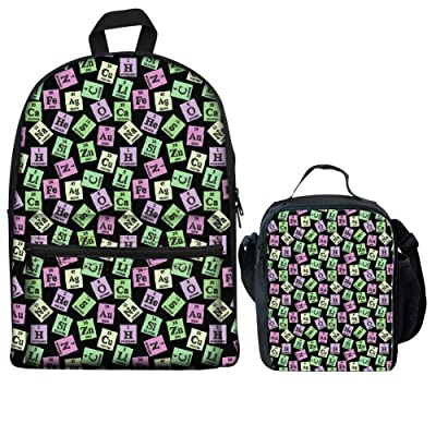 HUGS IDEA Children School Bag Periodic Table Print Backpack + Thermal Food Lunch Boxes + Pen Case