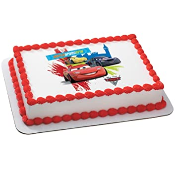 Amazoncom Disneys Cars  World Grand Prix Edible Icing Cake - Birthday cake cars 2