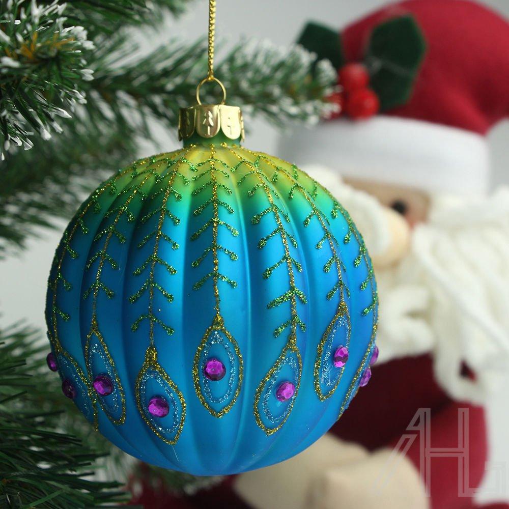 4pcs Gisela Graham Christmas Baubles Ribbed Peacock Xmas Tree Ball Hang Decor AHG