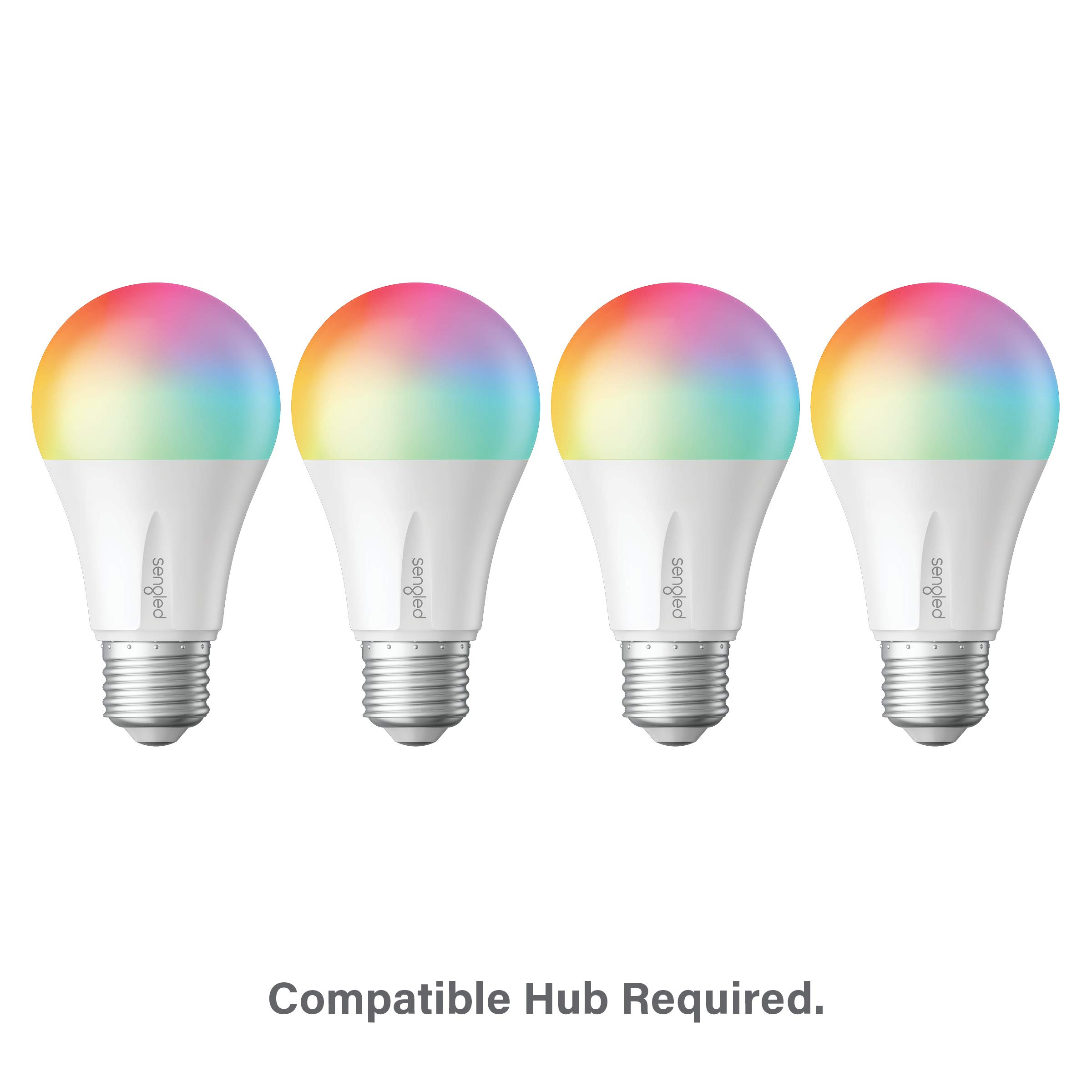 Sengled Smart LED Multicolor A19 Bulb, Hub Required, RGBW Color & Tunable White 2000-6500K, A19 60W Equivalent, Works with Alexa, Google Assistant & SmartThings, 4 Pack