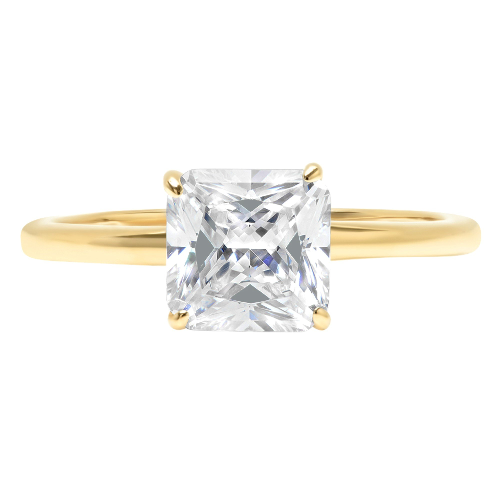 14k Yellow Gold 1.3ct Asscher Brilliant Cut Classic Solitaire Designer Wedding Bridal Statement Anniversary Engagement Promise Ring Solid, 5, 5