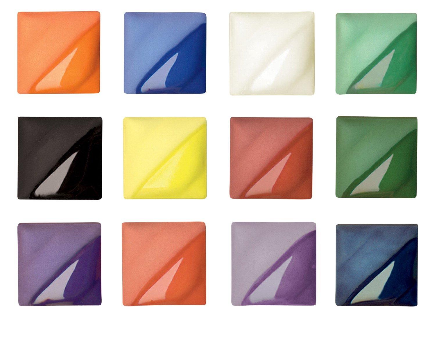 AMACO Velvet Semi-Translucent Underglaze Classroom Pack, Assorted Colors, Set of 12