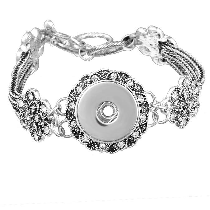 Floral Bracelet Snap Button Je...