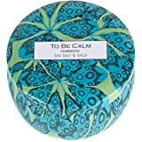 To Be Calm CSM-HRY Harmony Sea Salt & Sage Mini Soy Candle,Blue