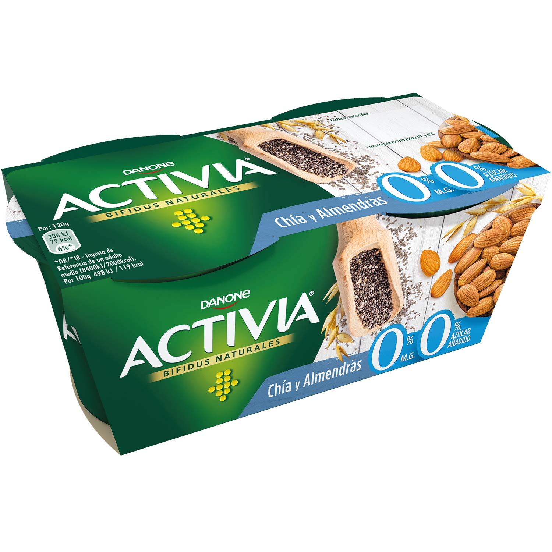Danone Activia Yougur de Fibras 0% con Chia y Alemndras - Paquete de 2 x 120 g - Total: 240 g: Amazon.es: Alimentación y bebidas