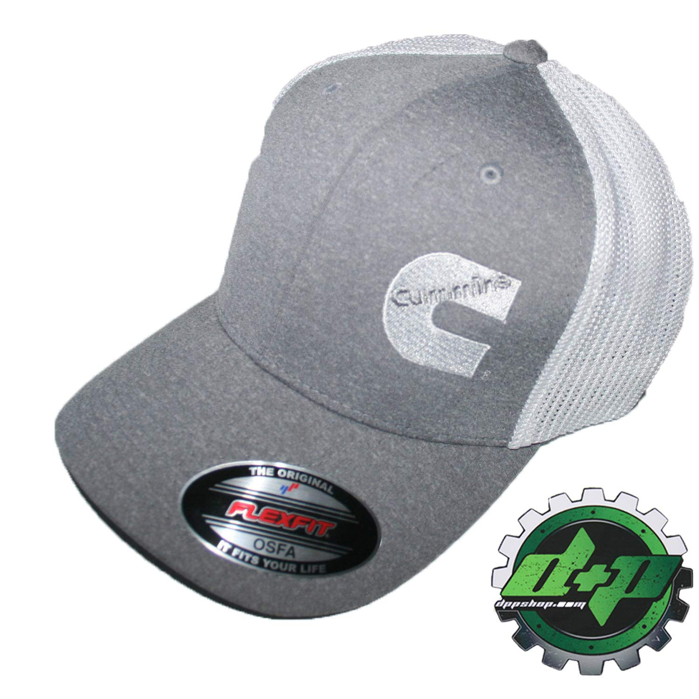 840ae98ec03 Amazon.com  Cummins hat Ball Cap Fitted Flex fit Flexfit Stretch Cummings  Dodge Diesel OSFA Gray White mesh  Automotive