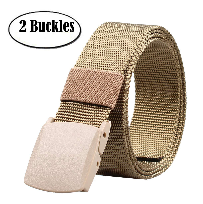 ALAIX Nylon Canvas Breathable Military Tactical Mens Waist Nylon Belt Double Plastic Buckle Khaki