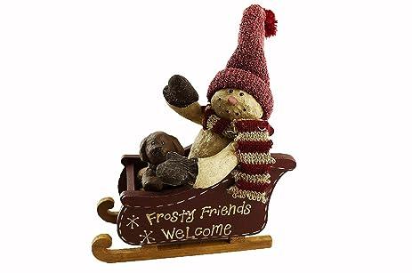 Amazon.com: Craft Outlet Papier Mache Welcome Frosty Friend Figurine ...