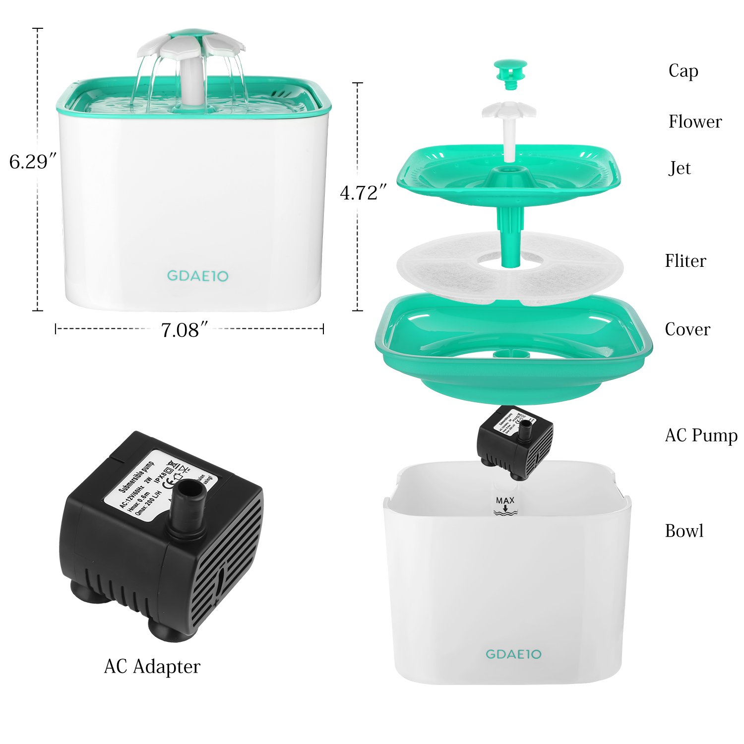 GDAE10 Pet Fountain, Cat Water Dispenser, Automatic Pet Drinking Fountain 2L Super Quiet Flower Circulating Silent Pump with 2 Replacement Filters for Cats, Dogs, Birds and Small Animals by GDAE10 (Image #1)