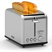 ONSON 2 Slice Toaster Stainless Steel,Bagel Toaster - 5 Bread Shade Settings,Bagel/Defrost/Cancel Function,Extra Wide Slots, Removable Crumb Tray, Stainless Steel Grill, Suitable for Croissants,and Various Bread Types (825W, Silver)