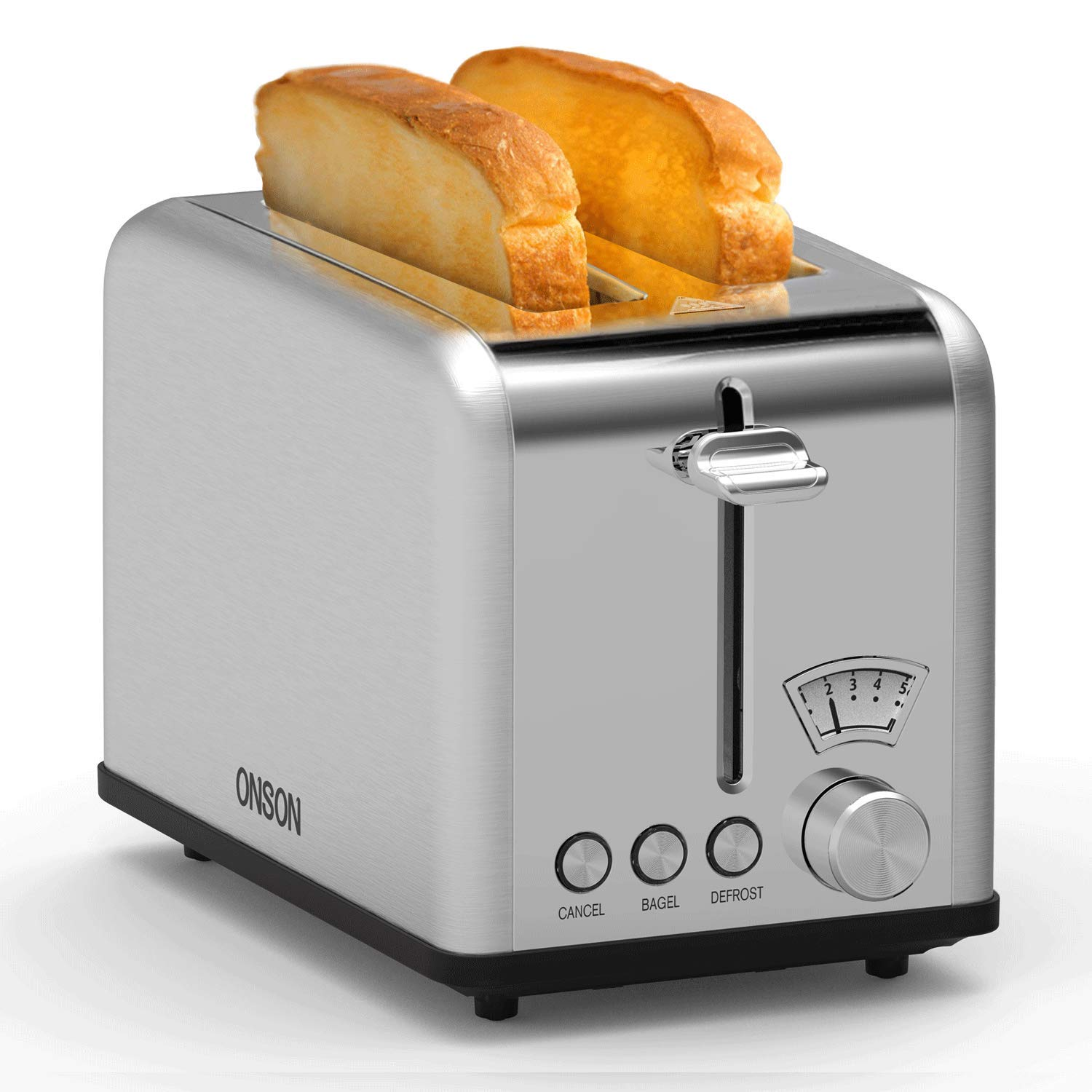 ONSON 2 Slice Toaster Stainless Steel,Bagel Toaster - 5 Bread Shade Settings,Bagel/Defrost/Cancel Function,Extra Wide Slots, Removable Crumb Tray, Stainless Steel Grill, Suitable for Croissants,and Various Bread Types (825W, Silver) by ONSON