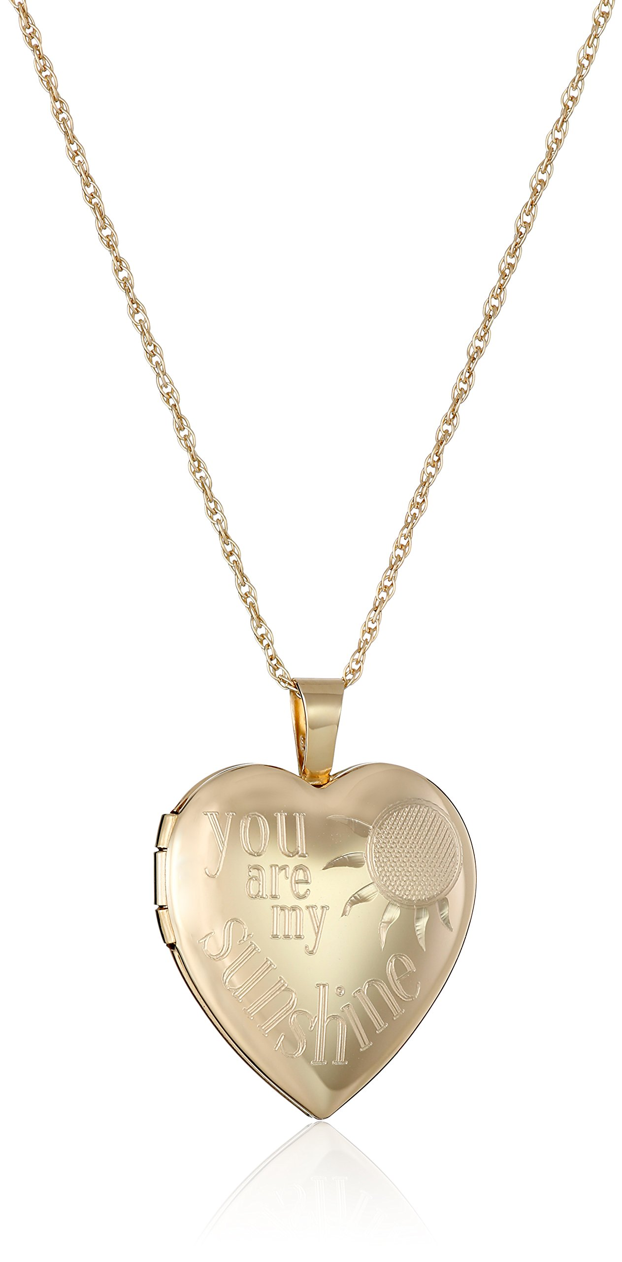 14k Gold-Filled ''You Are My Sunshine'' Heart Locket Necklace, 18'' by Amazon Collection
