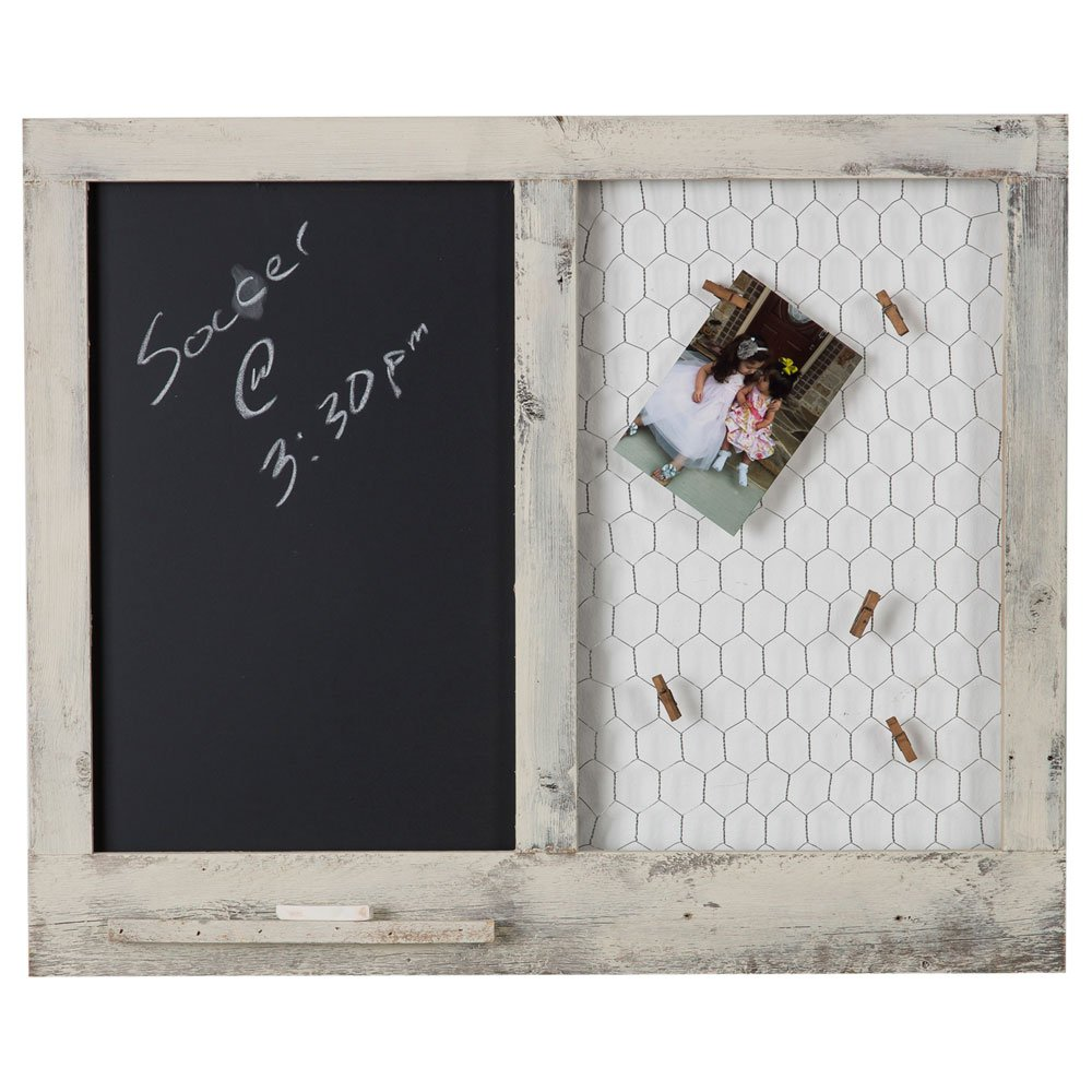 Chalkboard Chicken Wire Clothespin Photo Display | Wall Mount | Handmade Rustic Reclaimed Wood | 23 x 27 Inch - Natural Drakestone Designs