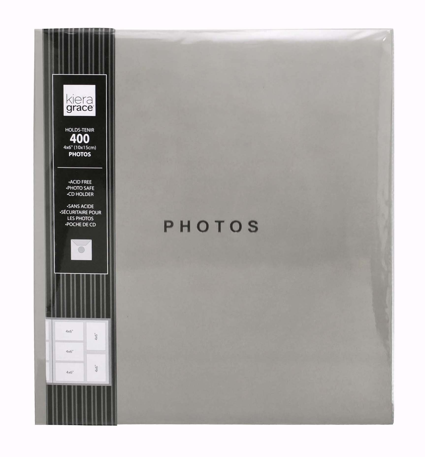 Kiera Grace Photo Album, Holds 400 4 by 6-Inch Photos, Cool Gray