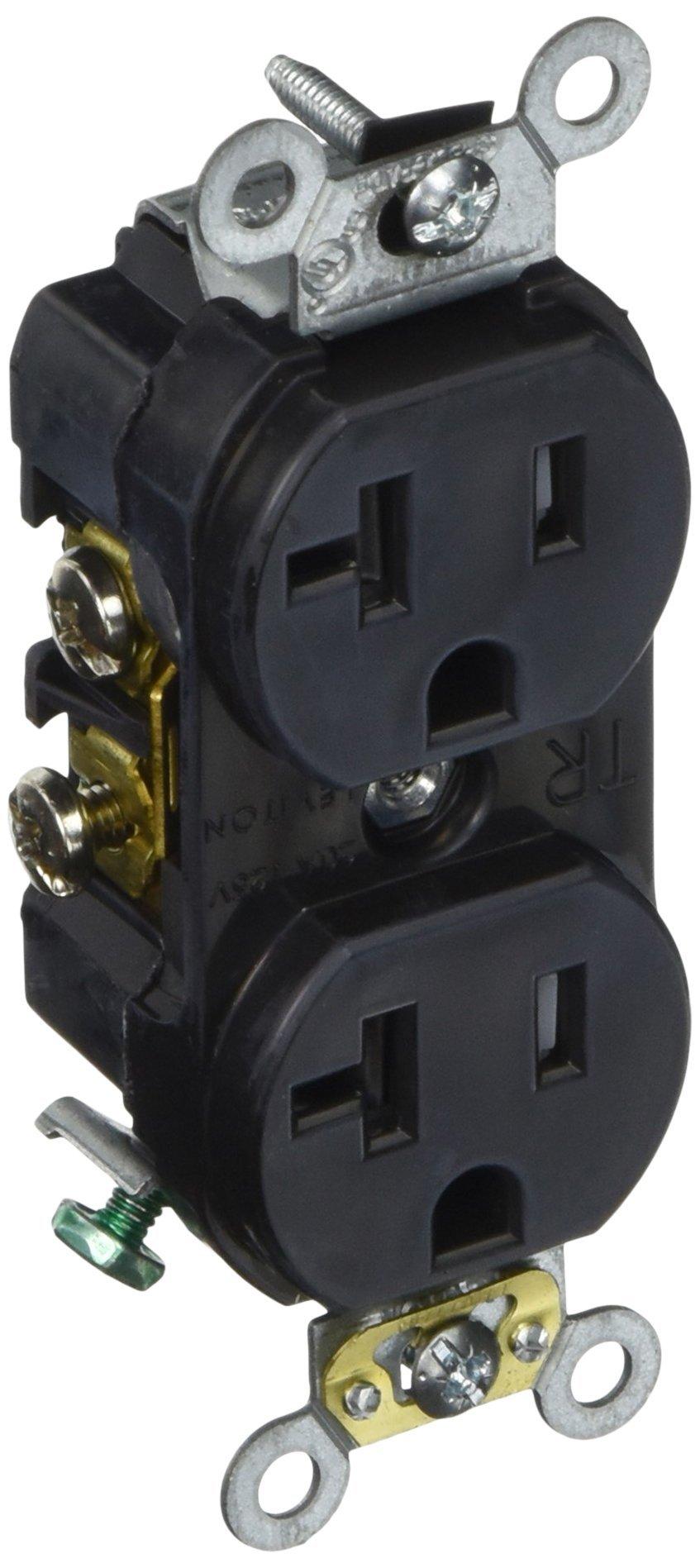 Leviton TBR20-E 20-Amp, 125-Volt, Tamper-Resistant, Duplex Receptacle, Straight Blade, Commercial Grade, Self Grounding, Black