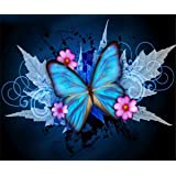 EOBROMD DIY 5D Diamond Painting by Number Kits, Full Drill Crystal Rhinestone Embroidery Pictures Arts Craft for Home Wall Decor Gift - Butterfly Flower 12x16inch