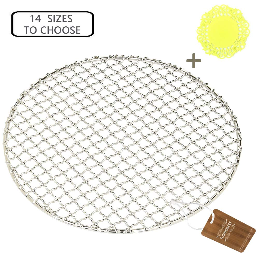 "Turbokey Dia 13.8"" Round Barbecue Grids Cross Wire Footed Steaming Stainless Steel Cooling Rack Multi-Purpose Grill Rack for Airfryer Instant Pot/Pressure Cooker (350mm/13.8"")"