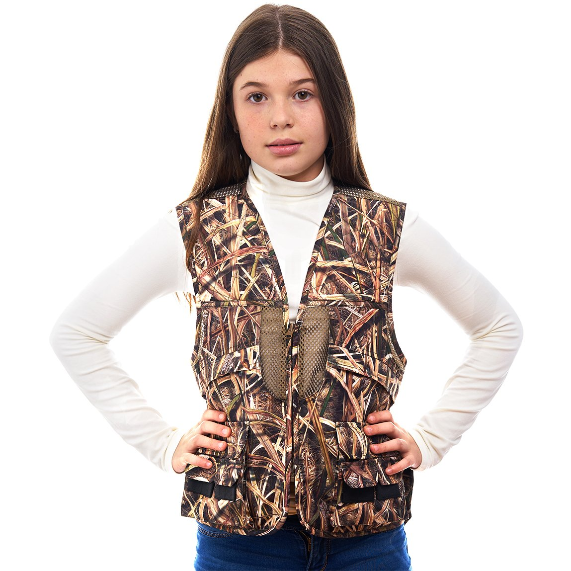 TrailCrest Kids Mossy Oak Deluxe Front Loader Hunting Vest, Medium, Shadow Grass by TrailCrest (Image #2)
