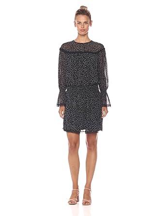 Ella Moon Women's Sera Long Bell Sleeves Cinch Waist Dress, Black/Ivory Print, Small