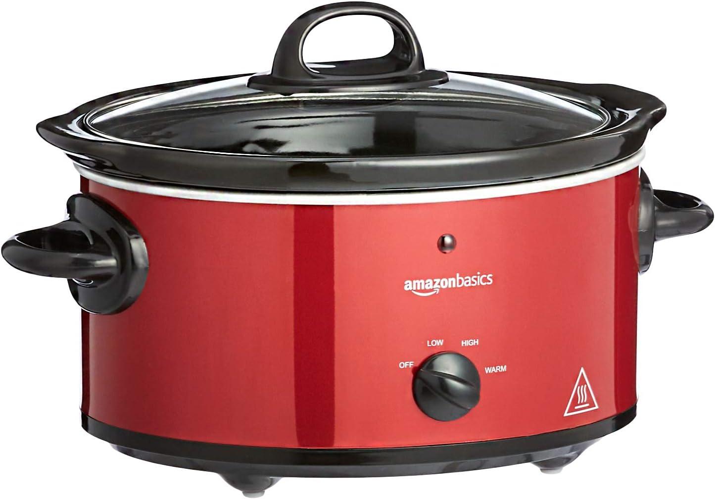 Amazon Basics - Olla de cocción lenta, con 3 niveles de calor y función de mantenimiento del calor, 135-160 W, 3,5 l